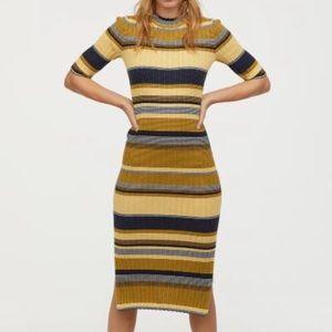 Ribbed striped midi bodycon dress